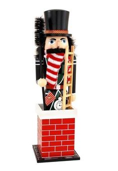 Chimney Sweep in Red Chimney Wooden Christmas Nutcracker 14 Inch Decoration New #HorizonsEast