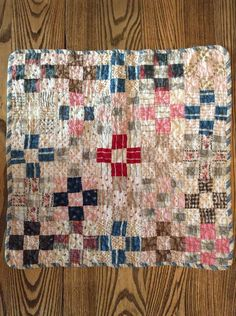 Indigo 9-patch Postage Stamp Hand Stitched Quilted Adaptable 1870s Antique Crib Quilt