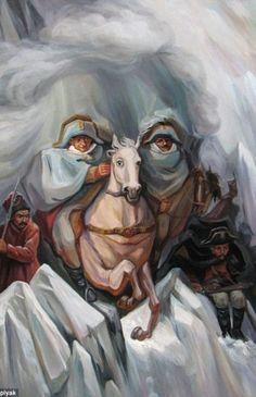 OLEG SHUPLYAK, Alexander Vasilyevich Suvorov: Cuadro creado por este artista ucraniano maestro de las ilusiones ópticas y los cuadros de paisajes. A través de sus pinturas establece una desproporción optica donde una escena y un retrato forman el efecto Op-Art.