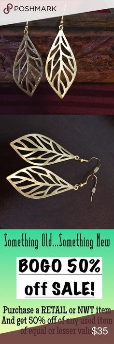 Leaf-shaped dangle boutique earrings  Same day shipping (excluding Sun/holidays or orders placed after P.O. Closed) ❓Please ask any questions prior to buying. I want you to be % Happy❣  These beautiful earrings are a mix of chic and boho with their leaf shape and pounded metal texture. I have sensitive ears so the hook portion is gold (I had it replaced professionally by a jeweler). I have so many earrings that these just so not get enough wear. They have been sterilized in isopropyl…