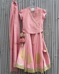 Blush Pink Lengha Set - kidswear - kid's lengha - kid's lehenga set - designer…
