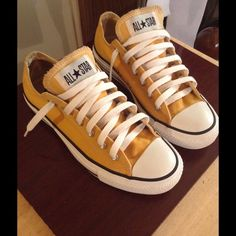 Converse Sneakers Beautifulllllll Converse Sneakers! Precious Mustard yellow color! Great Quality in Like new Condition! Only worn once!!!! Men's Size 5, Women size 7 Converse Shoes Sneakers