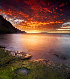 Kee Beach Fiery Sunset