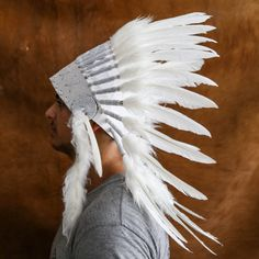 Real Feather All White Chief Indian Headdress 65cm by AureusArts