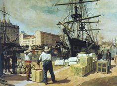 """""""Déchargement d'un brick à Marseille"""", 1876. (Vue partielle), Alphonse Moutte (1840–1913)"""