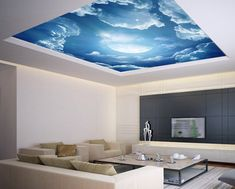 Ceiling STICKER MURAL air moon blue clouds decole poster - Pulaton stickers and posters - 1 Ceiling Murals, Floor Murals, Home Interior, Interior Decorating, Interior Design, Interior Paint, Modern Interior, Wall Mural Decals, Plafond Design