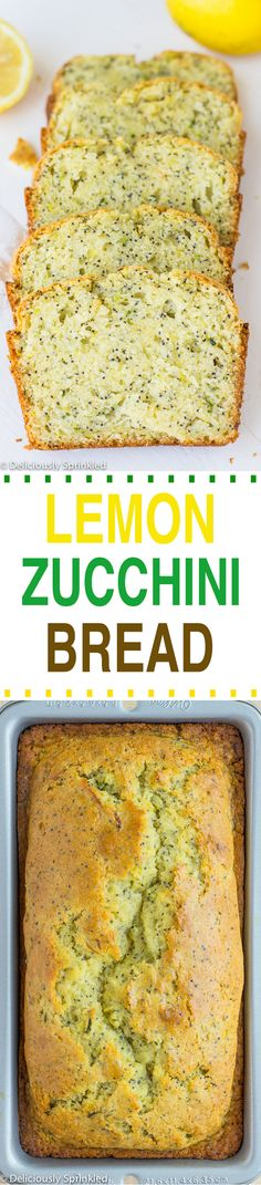 This Zucchini Lemon Poppyseed Bread will make you forget that any other type of bread even exists. I don't know about you, but I love a good bread. Lemon Zucchini Bread, Zucchini Bread Recipes, Zucchini Cake, Sin Gluten, Muffins, Delicious Desserts, Yummy Food, Dessert Bread, Baking Recipes