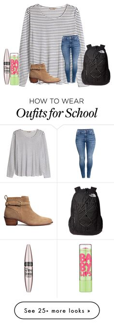 """""""At school"""" by texasgirlfashion on Polyvore featuring H&M, The North Face and Maybelline"""
