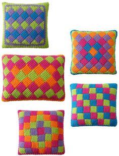 Crochet Patterns Pillow Easy Entrelac Tunisian Crochet Pillows pdf Pattern by gourmetcrochet on Etsy www. Crochet Pillows, Crochet Pillow Pattern, Pillow Patterns, Tunisian Crochet Patterns, Crochet Stitches, Knitting Patterns, Beau Crochet, Crochet Home, Enterlac Crochet