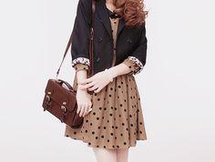 A cute look with the brown and the black polka dot dress, brown satchel purse, and the denim jacket. Kawaii Fashion, Cute Fashion, Womens Fashion, Brown Satchel, Satchel Purse, Black Polka Dot Dress, Little Dresses, I Dress, Spring Summer Fashion