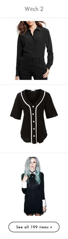 """""""Witch 2"""" by mariesmilesxxx ❤ liked on Polyvore featuring tops, black, silk button-down shirts, long sleeve tops, ralph lauren tops, shirt top, drape shirt, shirts, short sleeve button up shirts and button down baseball shirts"""