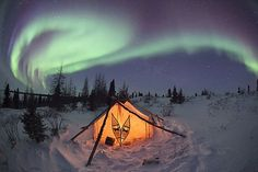 Hudson Bay, Canada. A tent sits beneath the Northern Lights. Camera: Canon 5D MkII Thomas Kokta, Germany Runner-up, One Shot Wild Moments (single image category)