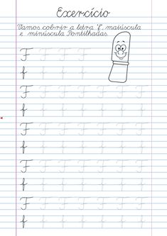 Atividade Letra F pontilhada para imprimir Cursive Writing Practice Sheets, Cursive Handwriting Practice, Cursive Writing Worksheets, Homeschool Worksheets, Preschool Education, Preschool Learning, Learning English For Kids, Tracing Letters, Writing Prompts