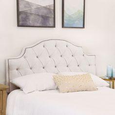 Shop Abbyson Royal Tufted White Queen/ Full Linen Headboard - On Sale - Overstock - 10147617 Linen Headboard, White Headboard, Headboards, Full Headboard, Living Room Decor, Bedroom Decor, Bedroom Ideas, Bedroom Inspiration, Master Bedroom