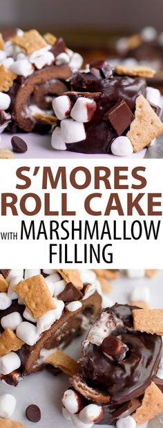 Smores Cake with Chocolate Ganache, Marshmallow Frosting, and Graham Crackers. This S'mores Roll Cake is a perfect summer or fall dessert!