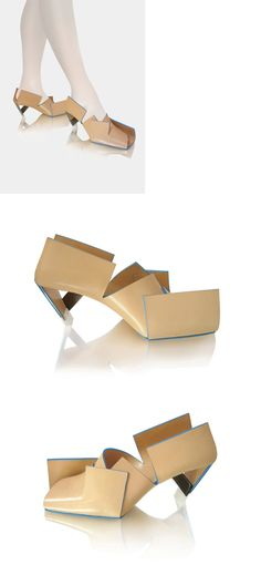 Beigefoldedshoe / 2009 by by Marloes ten Bhömer Beigefoldedshoe is made from a single piece of folded leather and stainless steel heel construction. #shoes #fashion #avantgarde