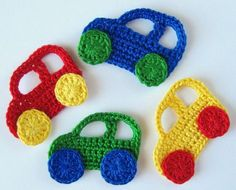 Diy Crafts - This pattern is for the Crochet Car and Truck Applique. You can use them to decorate baby boy blanket, hat, picture frame or photo album, Crochet Applique Patterns Free, Crochet Doll Pattern, Crochet Patterns Amigurumi, Baby Knitting Patterns, Crochet Motif, Crochet Flowers, Crochet Stitches, Crochet Car, Crochet For Boys