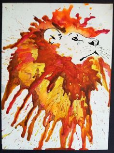 Melted Crayon Lion Art - really like this concept with the line drawing and melted crayons!!