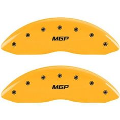 MGP Set of 4 Caliper Covers with Engraved Front and Rear (MGP), Yellow Powder-Coat Finish and Black Characters