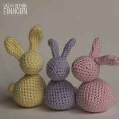 💕 💫 💕 💫 Easter can come, the decoration is. This year they come in wonderful pastel colours: bright Yellow, delicate Pink, powder Purple, paired with a subtle Fuchsia. The pastellenen Hschen bentige Diy Girlande, Crochet Home Decor, Easter Crochet, Pastel Colors, Colours, Crochet Patterns, Delicate, Knitting, Pink