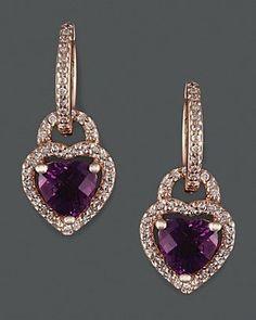 Diamond And Amethyst Earrings In 14K Rose Gold.... LetsBuyJewelry.com