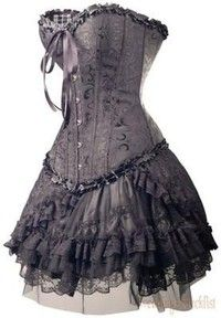 Fashion: Corsets, was used to make woman look slim in the sides and the hips. Corset was a piece of clothing that woman would wear under their dresses too to push everything up to make them look slim. Gothic Outfits, Gothic Dress, Gothic Lolita, Gothic Corset, Victorian Dresses, Victorian Corset Dress, White Corset, Gothic Metal, Dark Gothic