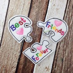 Best Friends Forever Feltie Embroidery Design by Buggalena