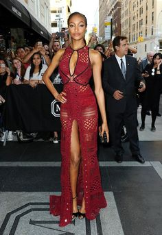 MET GALA 2015 - Jourdan Dunn: Her burgundy, laser-cut Burberry gown was sharply contrasted with black detailing and black accessories, but her jade-green earrings provided a vibrant pop of colour in homage to the theme.