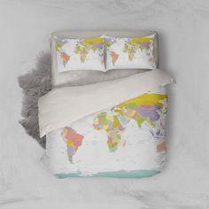 Colored World Map Bedding Set Bedroom Decor