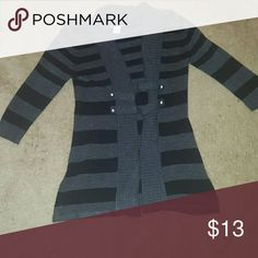 💕SALE💕Candie's sweater cardigan Black and dark gray stripped sweater cardigan... Two silver buttons on each side.... GUC ✅Make an offer through OFFER button ONLY ✅Negotiations welcome 🚫No trades 🚫No PayPal Candie's Sweaters Cardigans
