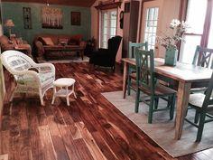 Lake Cabin Upgrade: goodbye carpet, hello acacia!