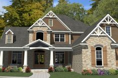 Craftsman Style House Plan - 5 Beds 3.00 Baths 4425 Sq/Ft Plan #63-392 Exterior - Front Elevation - Houseplans.com