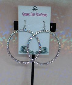 Pink and AB Crystal  Ombre Hoops by beaqueenbee on Etsy