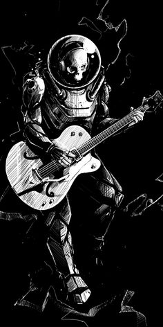 Art, skeleton, guitar, play, music, BW, 1080x2160 wallpaper Guitar Wallpaper Iphone, Music Wallpaper, Amazing Drawings, Art Drawings, Astronaut Wallpaper, Music Illustration, Guitar Art, Animes Wallpapers, Skull Art