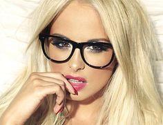 Big Fashion BLACK or CLEAR Frames Square Rectangular Clear Lens Geek EyeGlasses