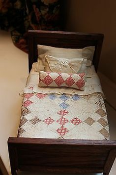 Antique Oak Doll Bed And Quilt