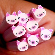 Pig Fimo Cane Pink Animal Polymer Clay Cane by MiniatureSweet, $1.20