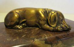 Antique gild bronze statue sleeping dog on by ElflingAntiques