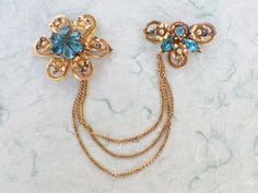 Vintage Chatelaine Floral Brooch Signed R Dean Co 1/20 12 KGF AB887 by MeyankeeGliterz on Etsy