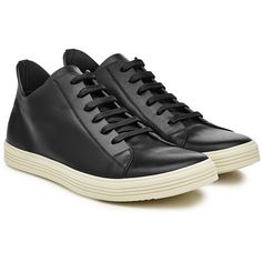 Rick Owens Leather Sneakers ($995) ❤ liked on Polyvore featuring men's fashion, men's shoes, men's sneakers, black, mens black shoes, mens low profile shoes, mens leather shoes, rick owens mens shoes and rick owens mens sneakers