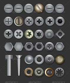 Vector Bolts and Screws Collection