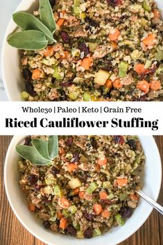 This Riced Cauliflower Stuffing is a low carb, grain-free/gluten free version of your favorite Thanksgiving side dish! and paleo as well – but nobody will know because it's that delicious! Healthy Thanksgiving Recipes, Thanksgiving Drinks, Thanksgiving Side Dishes, Paleo Recipes, Real Food Recipes, Rice Recipes, Delicious Recipes, Riced Cauliflower, Cauliflower Recipes