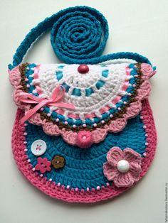 Купить Сумочка-кошелек детская вязаная Бирюза - бирюзовый, абстрактный, сумочка ручной работы