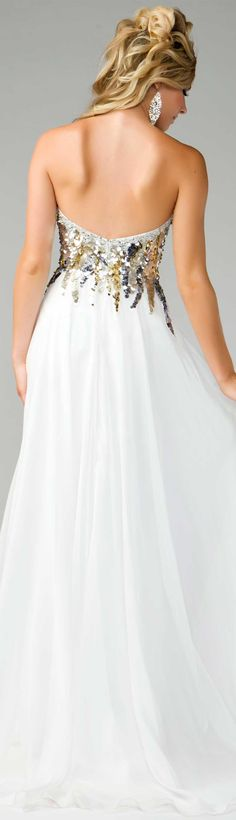 Macduggal: ivory, strapless, sequin top with gold and silver