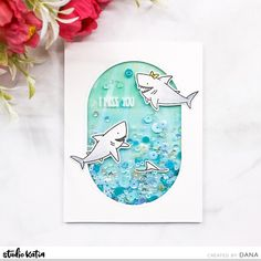 It's Dana here and I'm back with summery shaker card. To start, I created sea background using watercolor paint and flat paint brush. Missing You Friendship, Shaker Cards, Cardmaking, Stencils, Watercolor, Studio, Projects, Blog, Pattern