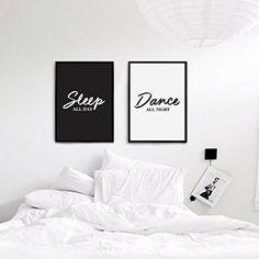 Sleep All Day, Dance All Night, Typography Print, Wall Decor, Funny Print, Black and White, Bedroom Decor, Couple Print, Set of 2 Print