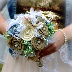 Wedding bouquet Jeans Love  and boutonniere by Marcellinewedding on Etsy
