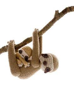 Amigurumi Parent and Baby Animals Crochet Pattern Sloth