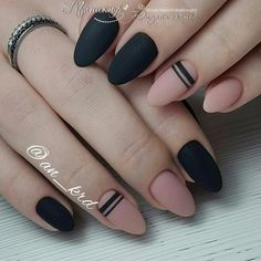 "If you're unfamiliar with nail trends and you hear the words ""coffin nails,"" what comes to mind? It's not nails with coffins drawn on them. It's long nails with a square tip, and the look has. Dark Nails, Matte Nails, Black And Nude Nails, Acrylic Nails, Black Polish, Pink Black, Matte Black, Dark Nail Art, Black Stripes"