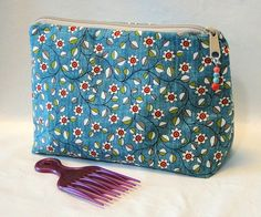 Cosmetic Bag, Beauty Bag, Toiletry Bag, Clutch, Beaded Bag, Turquoise Bag, Floral Bag by rosemontbags on Etsy